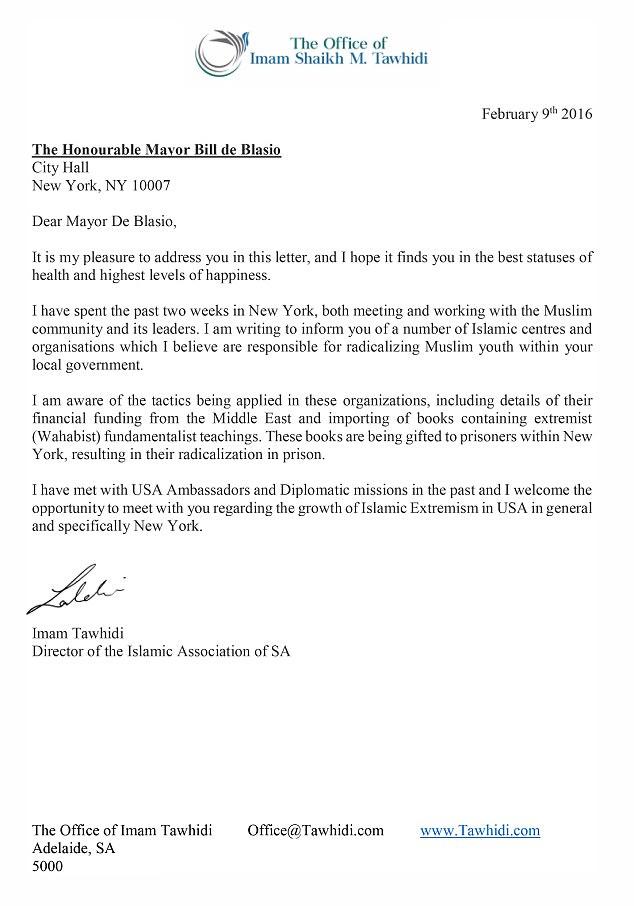Letter to de Blasio